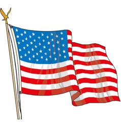 Flag united states america in flagpole waving vector