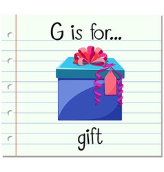 Flashcard alphabet G is for gift vector