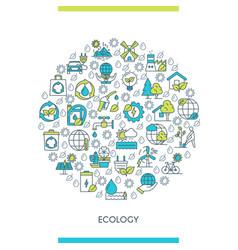 flat line design ecology concept vector image
