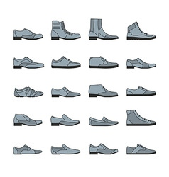 Footwear icon set vector image