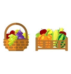 Fruits and vegetables in wicker basket vector