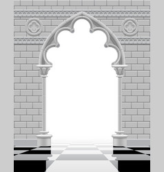 gothic arch and wall in black and white colors on vector image