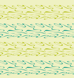green pattern with waves and curls vector image