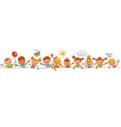 group of children with blank board vector image