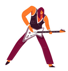 guitarist with electric guitar musician playing vector image