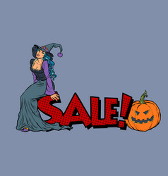 halloween sale witch and pumpkin vector image