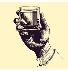 Hand holding glass with strong drink Vintage vector image