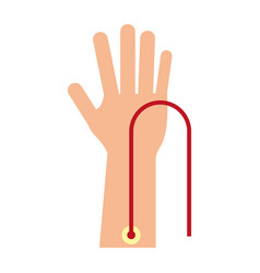 Hand with intravenous dropper vector