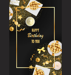 Happy birthday greeting card with festive items vector