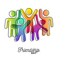 Happy friendship day card friends dancing vector