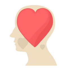 Head with heart icon cartoon style vector