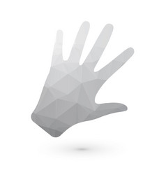 human hand gray triangle vector image