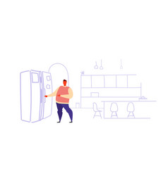 hungry man opening refrigerator door casual guy vector image