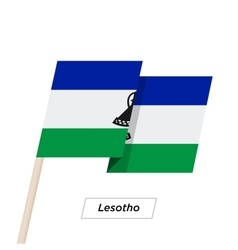 Lesotho Ribbon Waving Flag Isolated on White vector