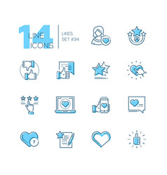 likes - set line design style icons vector image