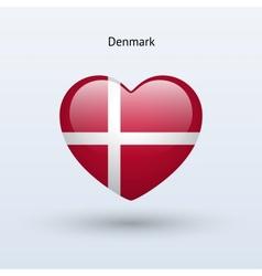 Love Denmark symbol Heart flag icon vector