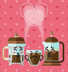 loving couple of French press coffee maker vector image