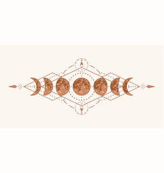 magic moon with sacred geometry tattoo design vector image