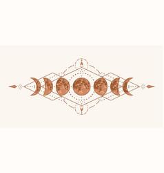 Magic moon with sacred geometry tattoo design vector