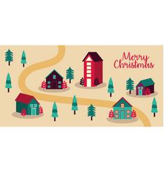 Merry christmas card with cityscape scene vector