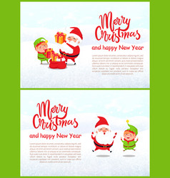 merry christmas elf and santa claus characters vector image