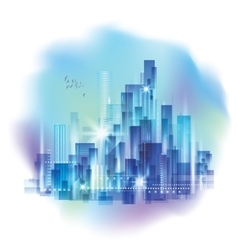 Modern night city skyline with reflection on vector