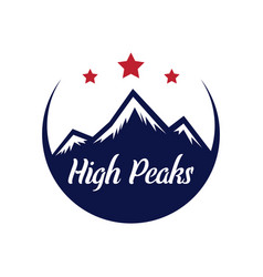 mountain logotype with hill peaks minimal retro vector image vector image