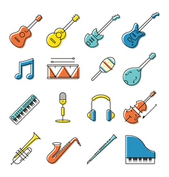 Music Instruments Objects Icons Set Line Design vector image