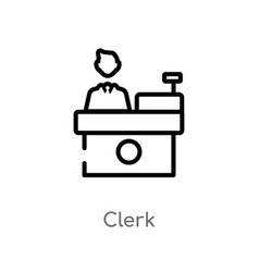 Outline clerk icon isolated black simple line vector
