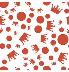Pattern with red crowns and points vector
