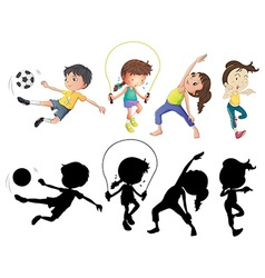 People doing different sports set with silhouette vector