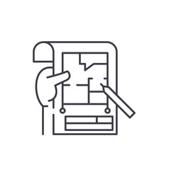 planning line icon concept planning linear vector image
