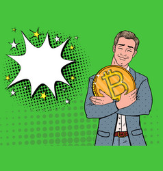 pop art businessman with big golden bitcoin coin vector image