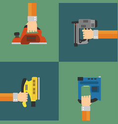 Power tools set modern flat design style vector