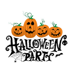 Pumpkins with halloween party vector