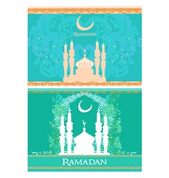Ramadan background - mosque silhouette card set vector image