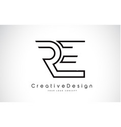 Re r e letter logo design in black colors vector