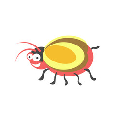 Ridiculous red round bug with yellow wings and vector