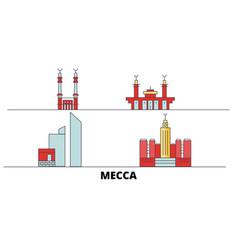 Saudi arabia mecca flat landmarks vector