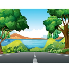 Scene with road to the lake vector