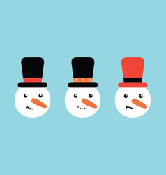 set collection snowman in hats vector image