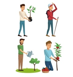 Set gardeners man tree plant and hiking vector