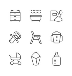 set line icons of baby goods vector image
