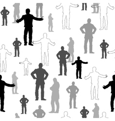 Set of man silhouettes seamless pattern vector image
