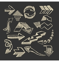Set of sketched arrow vector