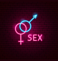 sex neon label vector image