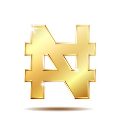 Shiny golden nigerian naira currency sign vector