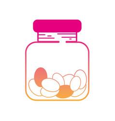 Silhouette candy almonds dessert crystal jar vector
