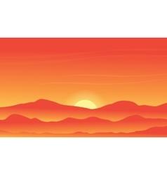 Silhouette of desert on orange backgrounds vector
