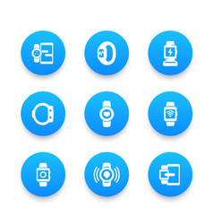 Smart watch icons set wearable devices gadgets vector
